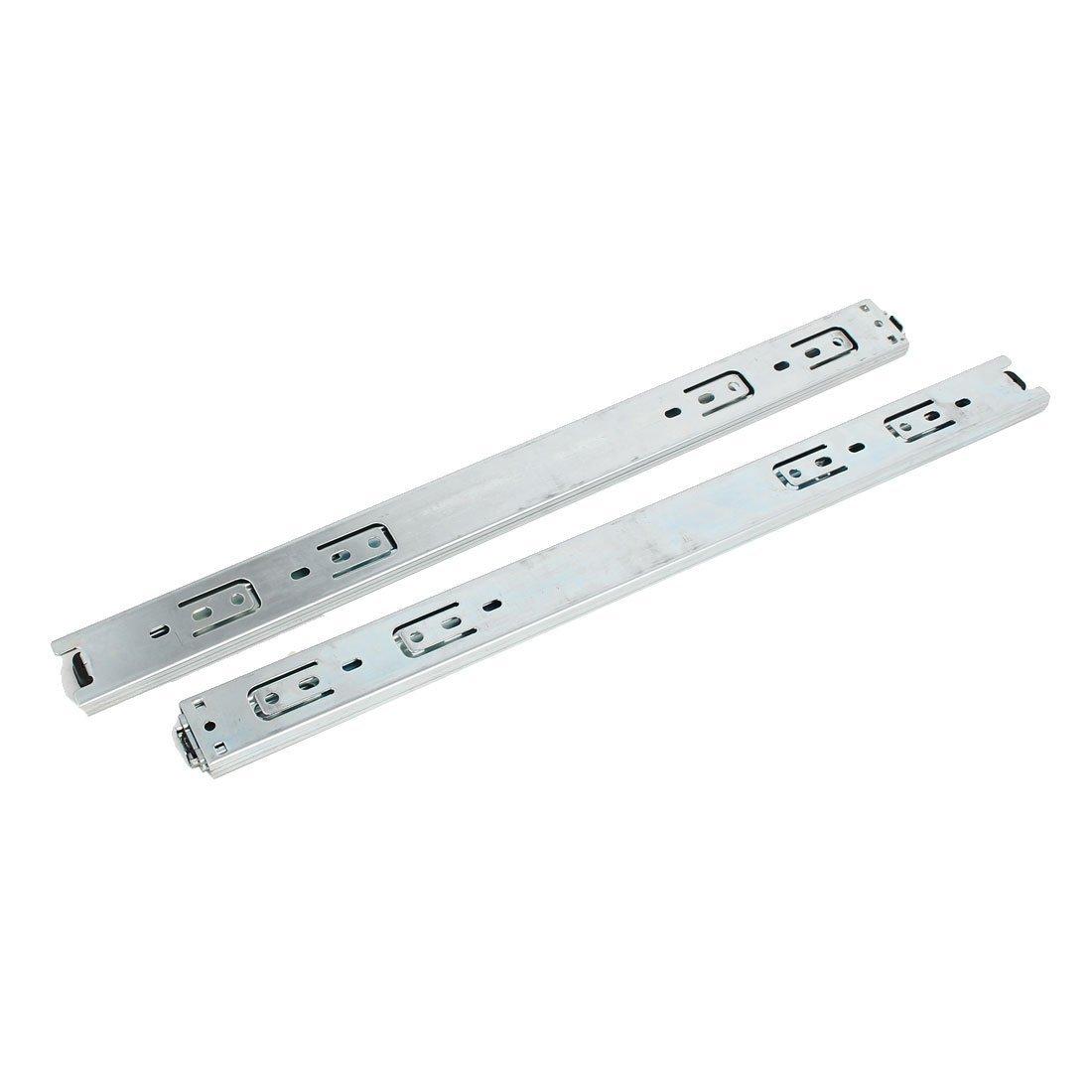 eDealMax 18 pulgadas Longitud 35 mm Anchura 3-Sección cojinete de bolas Cajones tono de plata 2pcs - - Amazon.com