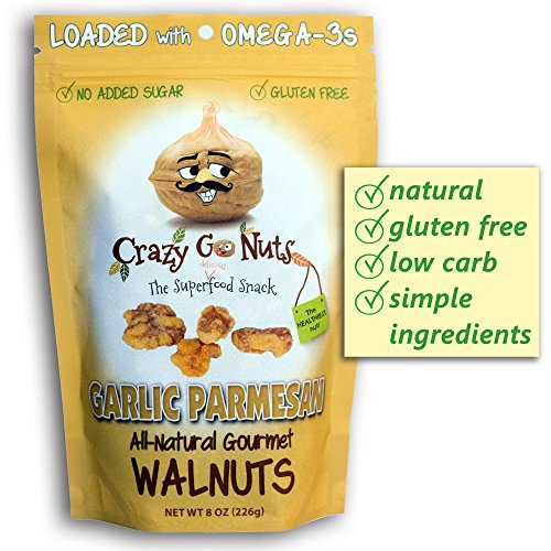 Crazy Go Nuts Flavored Walnuts & Healthy Snacks: Gluten Free, Low Carb, Non GMO + Keto Snacks, 8oz - Garlic Parmesan