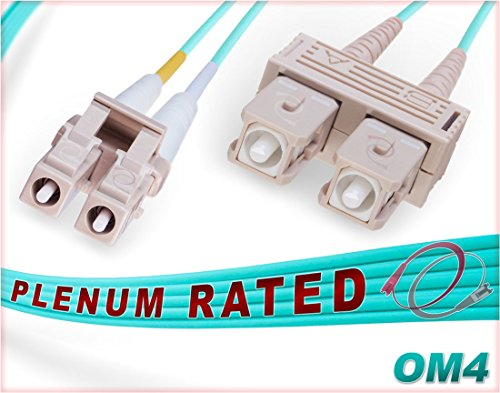 FiberCablesDirect - 15M OM4 LC SC Fiber Patch Cable | Plenum 100Gb Duplex 50/125 LC to SC Multimode Jumper 15 Meter (49.21ft) | Length Options: 1M-300M | Made In USA | ofnp sc-lc mm dup lc/sc mmf aqua