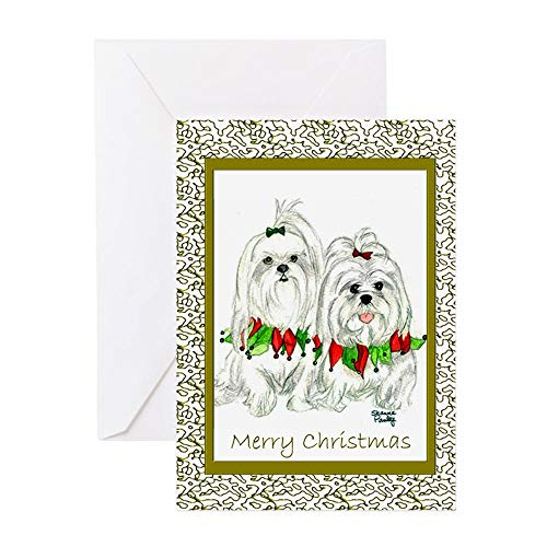 CafePress Maltese Christmas Cards Greeting Cards (Package Of Greeting Card (20-pack), Note Card with Blank Inside, Birthday Card - Maltese Cards Christmas