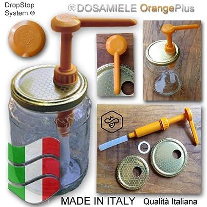 Dispensador para miel, fabricado en Italia, naranja