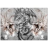 Large Wall Mural Sticker [ Dragon,Scary Creature in Sketch Stylized Horror Scene Monster Tattoo Art Gothic Picture Decorative,Grey Umber ] Self-adhesive Vinyl Wallpaper / Removable Modern Decorating W