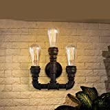 HYY@ vintage loft wall lamps 3 Arm Industrial water pipe wall Lamp lamparas de pared Retro Wall Sconce Light for bar cafe Restaurant