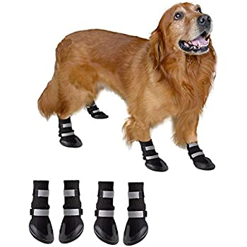 BESAZW Long Dog Boots Pet Waterproof Antiskid Durable Shoes with Reflective Velcro Soft Warm Paw Protectors for Small to Large Dogs 4 Pcs Set (S, Black)