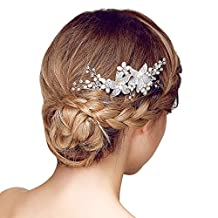 Happy Hours - 1 Pc Brides Pearls Clear Crystal Decor Side Combs / Bridesmaid Flower Design Hairclip for Wedding Prom Masquerade(#3)