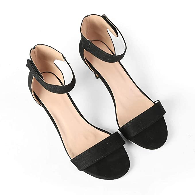 Amazon.com: Sharemen Womens Ankle Strap Chunky Block High Heel - Party Dress Open Toe Sandals A Word Band Shoes: Clothing