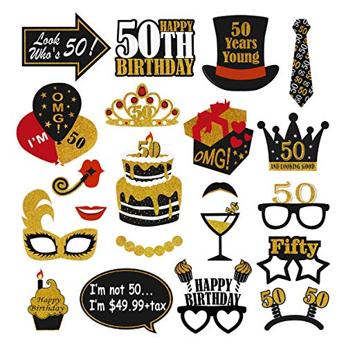 Amosfun Birthday Party Photo Booth Props 50th Kit Men Women Creative Happy Birthday Party Props with Sticks Decoration(21PCS, Black Gold )]()