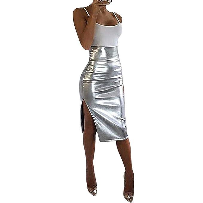 Cinnamou Falda Plateada Mujer, Sexy Dividir Faldas de Cuero Mujer ...