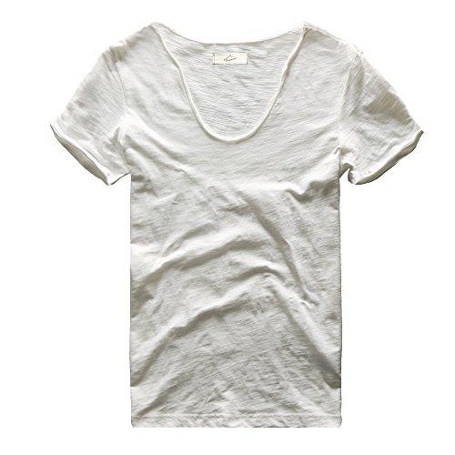 Zecmos Men's V Neck Slim Fit 100 Cotton T Shirts Color White Size M