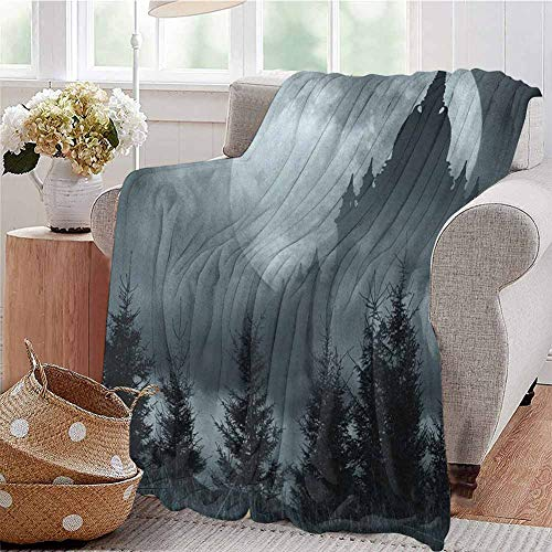 Castle Serenity Halloween (Halloween Rugged or Durable Camping Blanket Magic Castle Silhouette Over Full Moon Night Fantasy Landscape Scary Forest Warm and Washable W60 x L70 Inch Grey Pale)