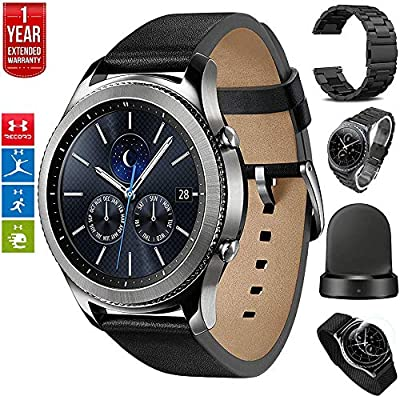 Samsung Gear S3 Bluetooth Watch with Built-in GPS with Wireless Charger Bundle + Silver Wrist Band + 1 Year Extended Warranty