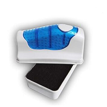 NaiCasy Fish magnética Cristal del Acuario del Tanque del Limpiador del raspador de Cepillo Limpiador de Algas Peces de Acuario Tanque Curva Flotante (S), ...