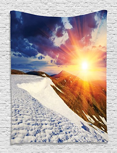 Kids Birthday Decoration Ideas At Home (Boho Decor Sunshine Tapestry Clouds Nature Mountain and Valley Sun Wall Hanging for Living Room Girls Decor Divider in College Dorm Accessories Landscape Home Decorations, White Blue Yellow)