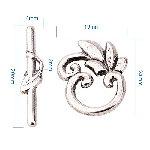 Pandahall 10sets Tibetan Style Olive Branch Flower Antique Silver Toggle Clasps for Tibetan Jewelry Making
