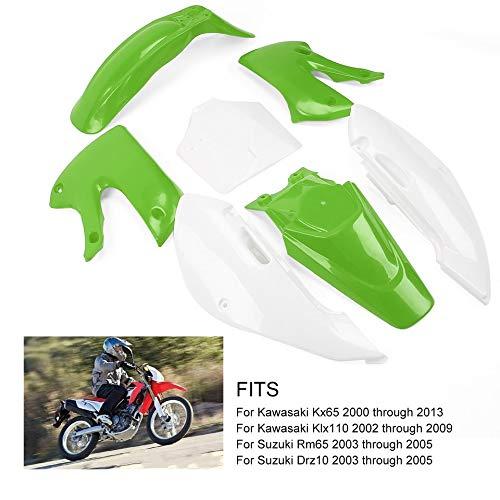 Piezas exteriores de pl/ástico para motocicletas todoterreno aptas para Kawasaki KLX110 KX65 Guardabarros delantero y trasero 2 cubiertas 2 paneles laterales