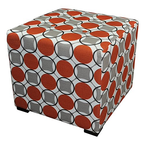 Sole Designs Abstract Circular Design Merton Collection Orange 4 Button Tufted Upholstered Cubed Ottoman