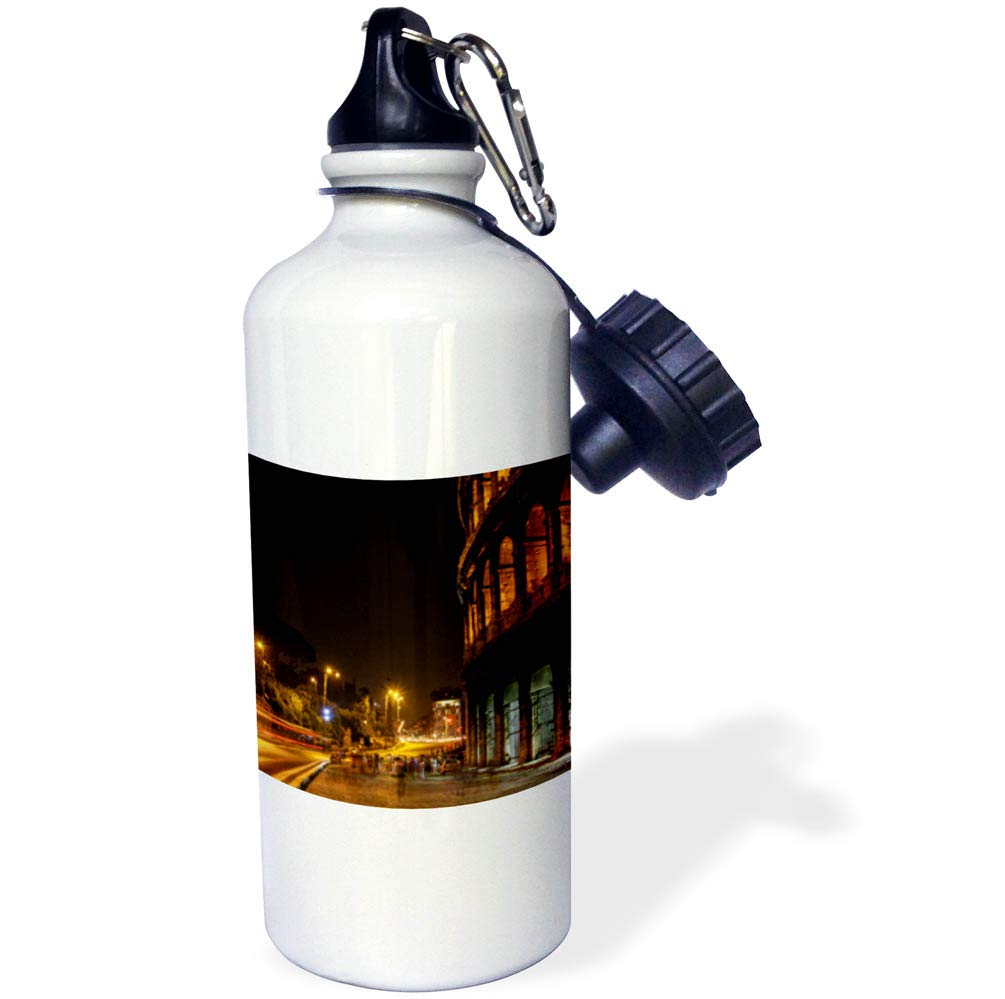 3dRose Elysium Photography - Cityscape - Colosseum at night, Rome, Italy - 21 oz Sports Water Bottle (wb_289613_1)