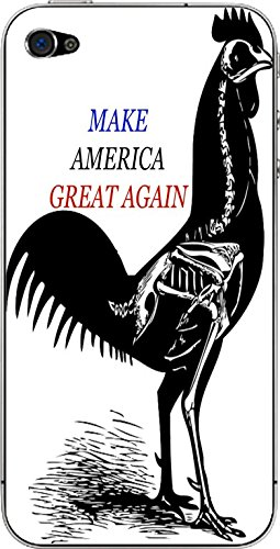 Make America Great Again Funny Rooster Silhouette Skeleton Design Print Image iPhone 4&4s Vinyl Decal Sticker Skin