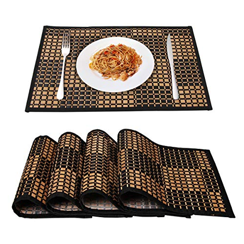 Placemats for Dining Table,Marscool Bamboo Table Placemats Set of 4,Stain-Resistant,Heat-Resistant Woven Placemats for Kitchen Table Set of 4(Black ()