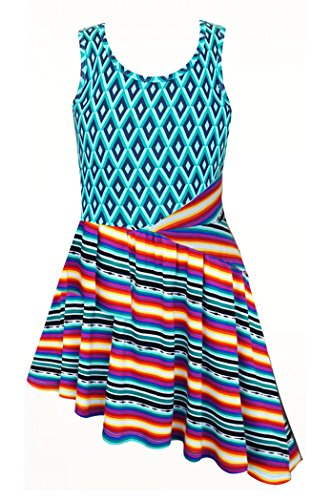Truly Me, Big Girl Tween Dazzling Disco Asymmetrical Dress, Green Multi, 7-14 (14) (Outfits For Tweens)