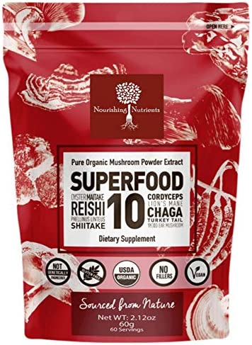 14 1 SUPERFOOD 10 Organic Mushroom Powder Extract Supplement – 100 Pure-USDA- Immunity Booster- Reishi, Chaga, Maitake, Cordyceps, Shiitake, Lions Mane, Turkey Tail more. Add to Coffee tea 60g