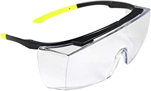 BHTOP Safety Glasses Protective Eye Wear L010 Clear Lens Anti-Fog Goggles Over-Spec Glasses in Yellow