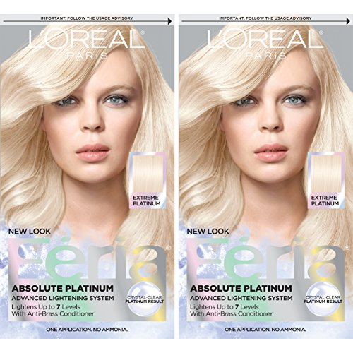L'Oréal Paris Feria Multi-Faceted Shimmering Permanent Hair Color, Extreme Platnium, 2 COUNT Hair Dye