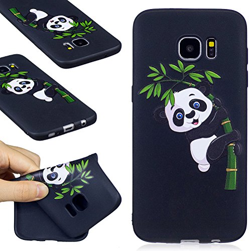 Galaxy S7 Edge Case, FIREFISH Soft Touch Slim-Fit Flexible TPU Case Embossed Printing Shock Absorption Bumper [No Slip] Back Cover for Samsung Galaxy S7 Edge -Panda-B ()