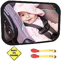 Baby Car Mirror Bundle - Improved Shatterproof Glass - Premium Back Seat Mirr...