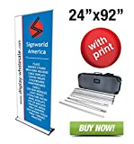 Signworld 24'' HD Retractable Roll Up Banner Stand Trade Show Display with Vinyl Print Included 24'' X 92''