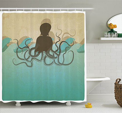 Kids Birthday Decoration Ideas At Home (Ambesonne Octopus Decor Collection, Vintage Style Marine Background and Octopus with Tentacles in Waves Ocean Wildlife Print, Polyester Fabric Bathroom Shower Curtain Set with Hooks, Ecru Blue)