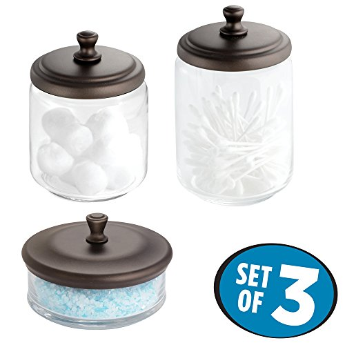 mDesign Bathroom Vanity Glass Apothecary Jars for Cotton Balls, Swabs, Cosmetic Pads - 3pc Set, Clear/Bronze