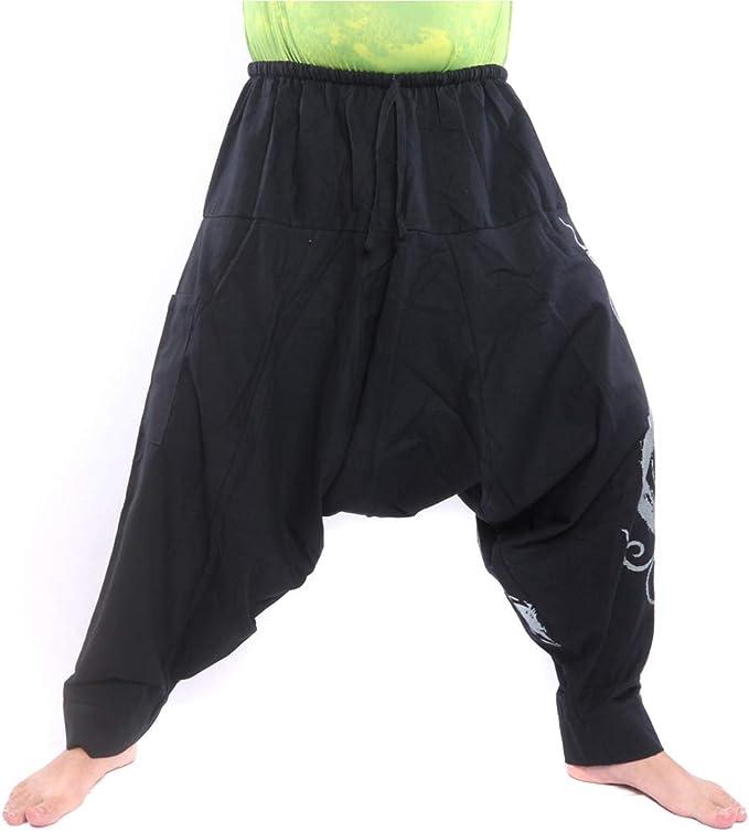 Yoga pants Thai pants Unisex Cotton pants Black Cloud Graphic Art Printed Super Harem pants Trousers