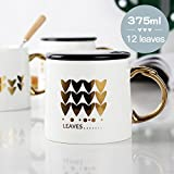 UPSTYLE 0.37L Gold Ceramic Cup,RomanticLeaf Office Ceramic Cup with Lid and Handle for Water,Tea,Milk and Coffee Funny Lovely Animal China Mug Best Gift for Friendship 12.8OZ/375ml(12leaves 375ml)