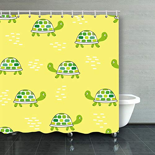 Shower Curtain seamless pattern green tortoise on yellow animals wildlife animal Animals Wildlife backgrounds textures animal Backgrounds Textures Decorative Bathroom Curtains Colourful 6072inch