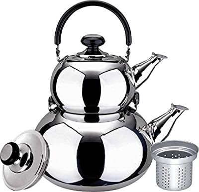 Turkish Double Tea Kettle Pot - Samovar Style Water Boiler Kettle with Strainer - 1 Liter & 3 Liter Pots