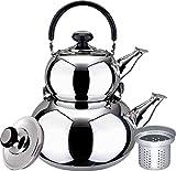 kettle 3l - Turkish Double Tea Kettle Pot - Samovar Style Water Boiler Kettle with Strainer - 1 Liter & 3 Liter Pots