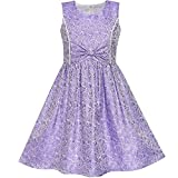 Sunny Fashion LS11 Girls Dress Purple Bow Tie Jacquard Fit and Flare Princess Size 5