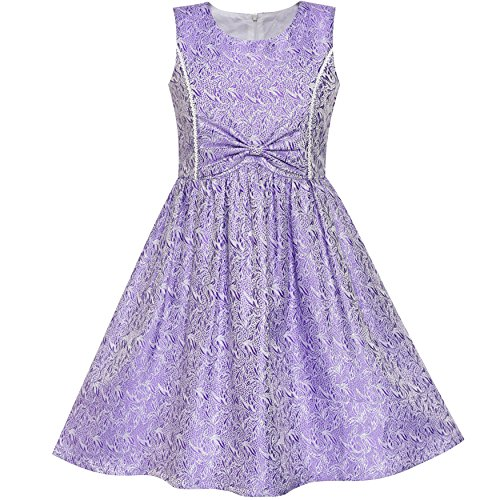 Sunny Fashion LS16 Girls Dress Purple Bow Tie Jacquard Fit and Flare Princess Size 12
