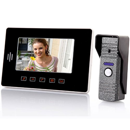 Fashion 7 Inch Color Monitor Video Door Phone Doorbell Intercom System with Touch-button and Outdoor Night Vision Camera