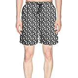 Elxie06 Bones and Skull Mens Quick Dry Lightweight Beach Shorts with Drawstring
