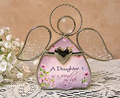 Daughter gifts - Glass Angel Tea Light Candle Holder - A Daughter is a Friend for Life printed on the angels dress - Gifts for Her - Graduation Gifts for Daughter - Mother's Day Gifts for Daughter