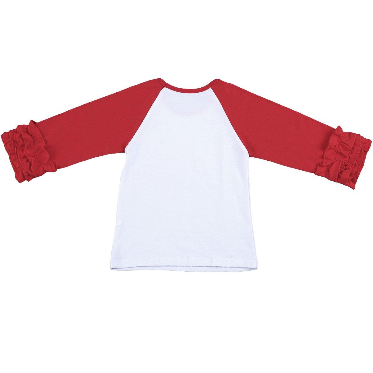 Baby Kid Girl Icing Ruffle Tops Raglan T-Shirt Long Sleeve Tee Shirt Casual Clothes