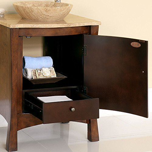 26'' Bathroom Furniture Travertine Top Double Sink Vanity Cabinet 714T by Silkroad Exclusive (Image #2)