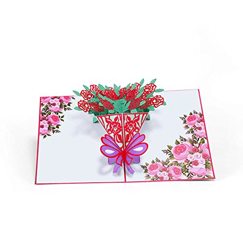 HeartMoon Pop up Rose Bouquet Flower Cards Birthday Mothers Day 3D Pop Up Greeting Card for All Occasions Love Wedding Anniversary Card - Laser Cut Sympathy Thank you Get Well Card ()
