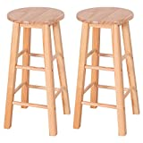 Costway 24-Inch Pine Wood Bistro Square Leg Bar Stool Dining Kitchen Pub Chair Furniture, Natural Finish, Set of 2 Review