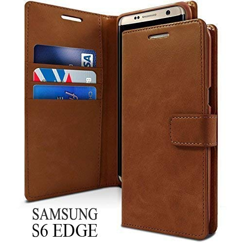 Accessories Innovator Leather Wallet Style Case Flip Cover for Samsung Galaxy S6 Edge SM G925  Dark Brown