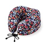 るるぶ (RURUBU) 3WAY Deformed Low Repulsion Neck Pillow With Storage Bag LB12 (Floral Pattern Navy)【Japan Domestic Genuine Products】 【Ships from Japan】