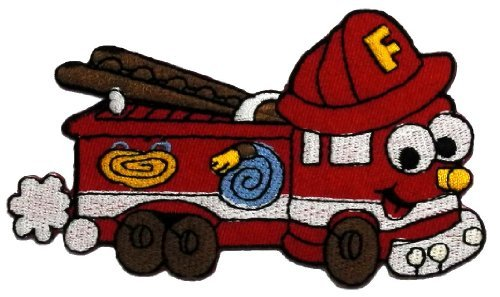 (Cute Cartoon Fire Engine Truck Retro Classic DIY Applique Embroidered Sew Iron on Patch FE-001)
