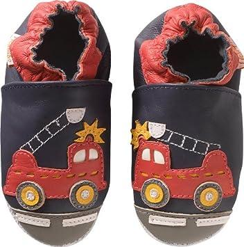 dcb0c9ff6d39d Tichoups Chaussons bébé cuir souple Xavier Le Camion de pompier 27 ...